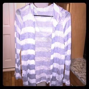 Splendid Striped Hooded Cardigan w Front Pockets